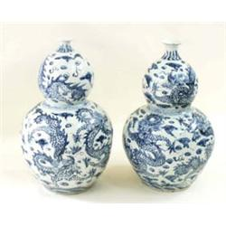 A PAIR OF LATE 19TH CENTURY BLUE AND WHITE ORIENTAL DOUBLE GOURD  SHAPED VASES: hand painted writ...