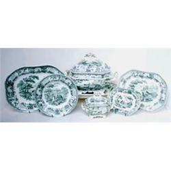 A FINE 19TH CENTURY SPODE AESOPS FABLES PART DINNER SERVICE: transfer  printed in green, comprisi...