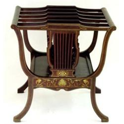 A FINE EDWARDIAN INLAID MAHOGANY CANTERBURY: the frieze with foliate  and shell inlaid design Est...