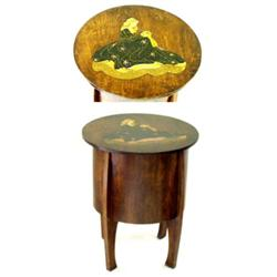 AN EDWARDIAN CIRCULAR SEWING BOX: the rising top inlaid a figure of a  lady and enclosing a flora...