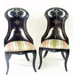 A PAIR OF VICTORIAN MOTHER OF PEARL INLAID PAPIER MACHE CHAIRS: (2) Est.500-700...