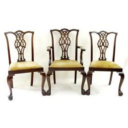 A SET OF EIGHT (6 + 2) CHIPPENDALE STYLE MAHOGANY DINING CHAIRS: with  shaped top rail and pierce...