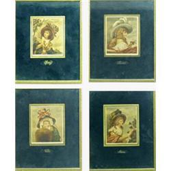 "A SET OF FOUR VICTORIAN COLOURED ENGRAVINGS: The Four Seasons, 5"" x  4.25"" (4) Est.40-60..."