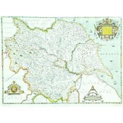"A COLOURED PRINT: Saxton's Map of Yorkshire 1577, 24"" x 32"" Est.30-50..."