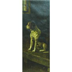 """M P LOCKING (19TH/20TH CENTURY) OIL ON CANVAS: study of a Spaniel,  signed and dated 1897, 35.75""""..."""