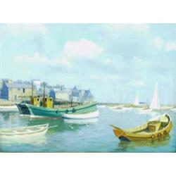 "WALTER GOODIN (1907-1992), OIL ON BOARD: Bridlington Harbour, signed,  17.25"" x 23.25"" Est.1000-1..."