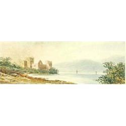 """EDWIN EARP (19TH/20TH CENTURY) A WATERCOLOUR: a lochside scene, 5"""" x  14.25"""" Est.100-150..."""