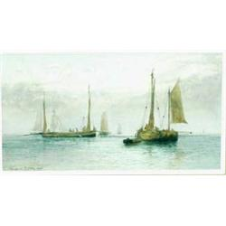 """CHARLES NAPIER HEMY (1841-1917) A WATERCOLOUR: Fishermen at sea,  signed and dated 1901, 5.75"""" x..."""