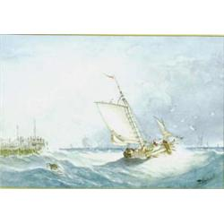 THOMAS BUSH HARDY (1842-1897) A WATERCOLOUR HEIGHTEND WITH  BODYCOLOUR: fishing boats in a squall...