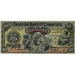 Canadian Bank of Commerce; 1912 $10 #793598 CH-75-14-28 PMG VF20.  Superb designs and colour.