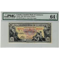 Canadian Bank of Commerce; 1935 $20 #007679 CH-75-18-10 PMG CH UNC64 Net. Bright issue with minor or
