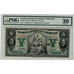 Banque Canadienne Nationale; 1925 $5 #1623314 CH-85-10-02 PMG VF30.  Nice issue for grade.