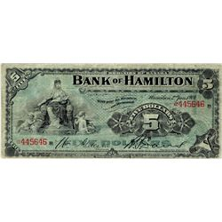 Bank of Hamilton; 1904 $5 #445646 CH-345-18-02 PMG F12 Net.  Popular issue with with strong colours.
