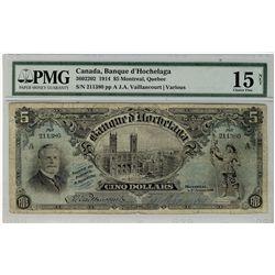 Banque d'Hochelaga; 1914 $5 #211380 CH-360-22-02 PMG CH F15 Net.  Tears.  More popular bank issue.