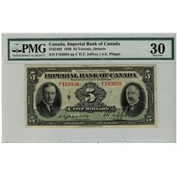 Imperial Bank of Canada; 1939 $5 #F103958 CH-375-24-02 PMG VF30.
