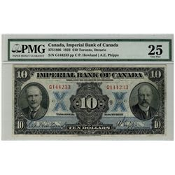 Imperial Bank of Canada; 1923 $10 #G144233 CH-375-18-06 PMG VF25.