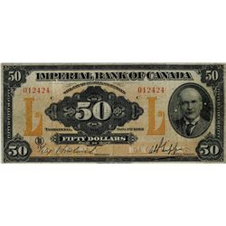 Imperial Bank of Canada; 1923 $50 #012424 CH-375-18-14 PMG VF20 Net.  Stains, Trimmed.  Popular and