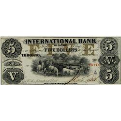 International Bank of Canada; 1858 $5 #15174 CH-380-10-08-16 PMG CH UNC64 Net.  Ink Burn.  Scarce ty