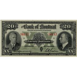 The Bank of Montreal; 1938 $20 #50112 CH-505-62-06 PMG CH UNC64EPQ.  Full colour and full bodied iss