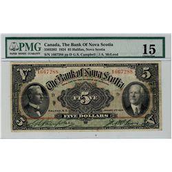 The Bank of Nova Scotia;  1924 $5 #1667288 CH-550-32-02 PMG CH F15.