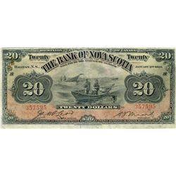 The Bank of Nova Scotia; 1929 $20 #357595 CH-550-28-22 PMG VG10.  Popular fishing boat designs.