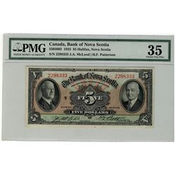 The Bank of Nova Scotia;  1935 $5 #2298333 CH-550-36-02 PMG CH VF35.