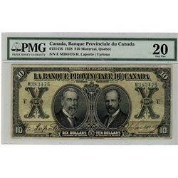 La Banque Provinciale; 1928 $10 #M383475 CH-615-14-16 PMG VF20.