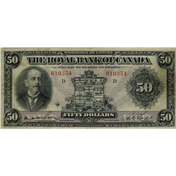 The Royal Bank of Canada; 1927 $50 #010354 CH-630-14-16 PMG VF25 Net. Minor tear.  Attractive purple