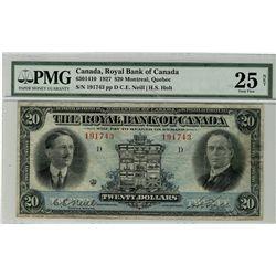 The Royal Bank of Canada; 1927 $20 #191743 CH-630-14-10 PMG VF25 Net.  Internal splits.