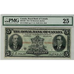The Royal Bank of Canada; 1913 $5 #5179641 CH-630-12-04 PMG VF25.