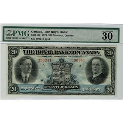 The Royal Bank of Canada; 1927 $20 #390241 CH-630-14-12 PMG VF30.  Bright strong colours, nice for g