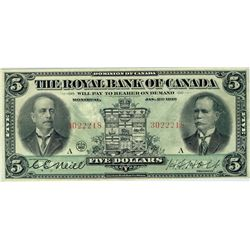 The Royal Bank of Canada; 1913 $5 #3022218 CH-630-12-04 PMG VF35.  Bright strong colours, nice for g