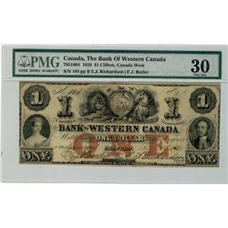 Western Bank of Canada; 1859 $1 #164 CH-795-10-04 PMG VF30.  Comes with minor staining.