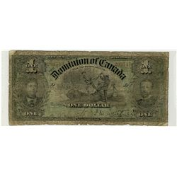 1897 $1 DC-12 #293543 VG for grade, with ragged edges.