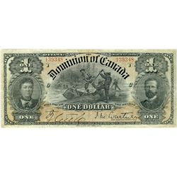 1898 $1 DC-13b #1393487 PMG VF25.  Clean for grade with nice borders.