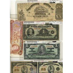 1923 25¢(2) DC-24c, 1935 $1 BC-1, 1937 $1 BC-21c, 1974 $2(10) BC-47a-i & US 1861 Confederate note. N
