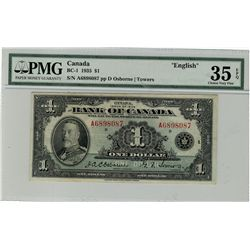 1935 $1 BC-1 #A6898087 PMG CH VF35EPQ.  Attractive and strong colours.