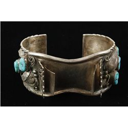 Vintage Design Sterling & Turquoise Watch Band