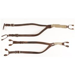 Lot of 2 Greasewood Tooled Leather Flat Suspenders