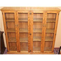 Oak Book Cabinet with 4 Glass Door Fronts