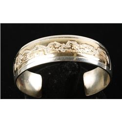 Sterling & 12K Gold Cuff Bracelet