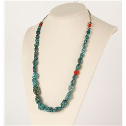Turquoise Nugget Necklace with Red Coral Accents