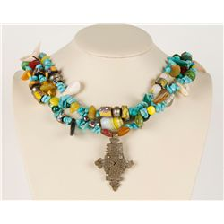 Turquoise & Glass Bead Mexican Cross Pendant
