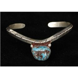 Old Pawn Pettipoint Turquoise Cuff Bracelet