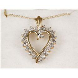 Lovely 10K YG Diamond Heart Necklace