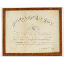 1902 US Supreme Court Framed Certificate