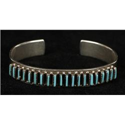 Sterling Silver Pettipoint Turquoise Cuff Bracelet