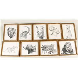 Lot of 15 Pen on Paper Depicting African Animals