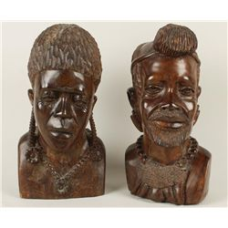 Lot of 2 African Bust Carvings from Zimbabwe