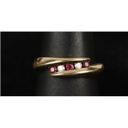 Demure 10K YG Ruby & Diamond Ring